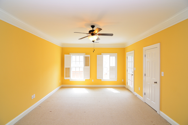 living room yellow white
