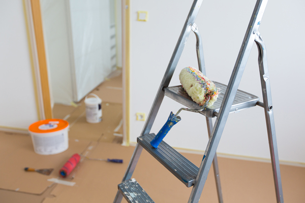 Commercial Painting Ladder, roller and buckets, home renovation